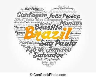 巴西, 詞, 心, 雲, 目錄, 城市