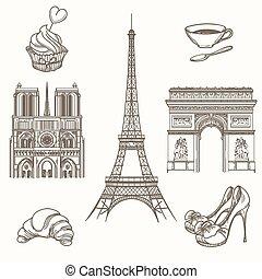 巴黎, 畫, 矢量, 符號, 手