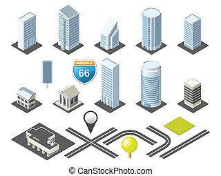 市區, 地圖, 等量, toolkit