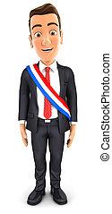 市長, 框格, 法語, 穿, 商人, 3d