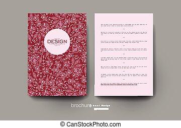布局, 裝飾品, 植物, 矢量, 飛行物, 小冊子, template.