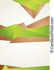 布朗, 摘要, 現代, 形狀, 飛行物, 綠色, 設計