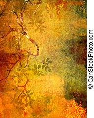 布朗, 摘要, 黃色, 圖樣, 背景, textured, 植物, 綠色, 背景, 紅色