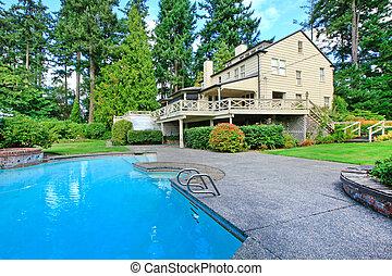 布朗, 花園, 夏天房子, 大, 外部, 池, 游泳