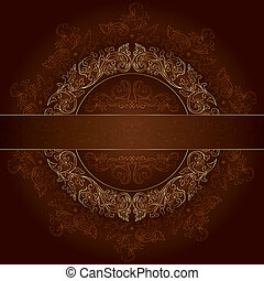 布朗, 金, 葡萄酒, 框架, 圖樣, 背景, 植物