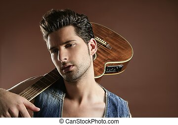 布朗, 音樂家, 年輕, 吉他演奏員, 性感, 人