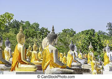 布, 後面, suphan, thailand., 黃色, wat, wua, 背景, phai, 佛, buri, 天空, 雕像, 蓋, rong