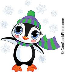 帽子, 冬天, 企鵝, s, 漂亮