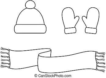 帽子, 圍巾, 連指手套