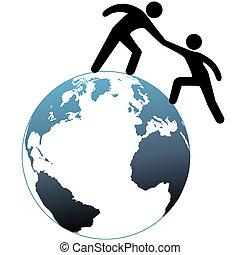 幫手, 頂部, 伸手可及的距離, 向上, 幫助, 世界, 朋友, 在外