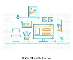 平局, 設計師, 辦公室, 現代, 手, 工作場所, minimalistic, 內部, 桌面, style.