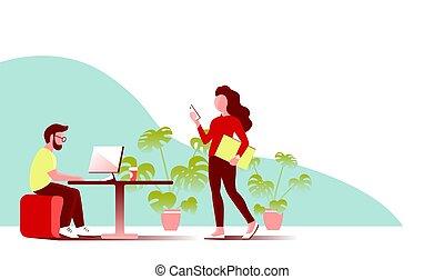 年輕, 工作, 辦公室。, 電腦, 人