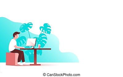 年輕, 工作, 電腦, 辦公室。, 人