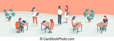 年輕, 現代, 工作, 人們, 辦公室。