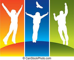 年輕, 跳躍, 三人