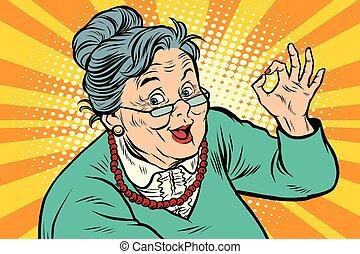 年長, 姿態, 奶奶, 好