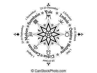 年, 指南針, 年度, wiccan, 日曆, 很多, 凱爾特語, 名字, 符號, pagans., 季節性, 週期, 觀察, holidays., 節日, 中間, 現代, 輪子, 五角星形, solstices