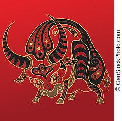 年, 漢語, horoscope., 牛