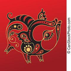 年, 漢語, horoscope., 豬