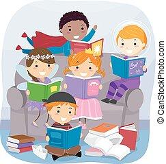 幻想, 書, stickman, 閱讀, 孩子