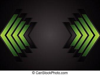 幾何學, 綠色, 箭, 公司, 背景