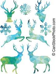 幾何學, 聖誕節, 矢量, 鹿