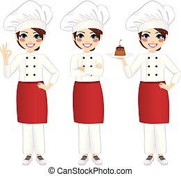 廚師, 專業人員, 女性, 站立