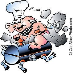 廚師, 桶, 騎馬, 豬, bbq