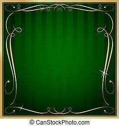 廣場, 金, 空白, 矢量, 綠色的背景, 裝飾華麗, 有條紋