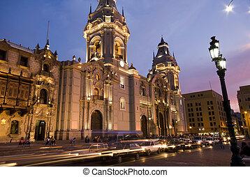 廣場, armas, de, 秘魯, catedral, 利馬, 市長