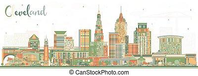 建筑物。, 城市, 克利夫蘭, 地平線, 俄亥俄, 顏色
