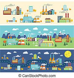 建筑物, 工業, 水平的旗子