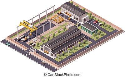 建筑物, 矢量, 等量, 圖象, 工廠