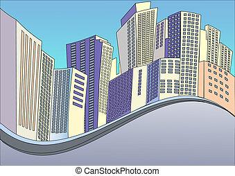建筑物, 背景, 現代, 城市