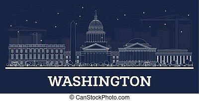 建筑物。, 華盛頓特區, 地平線, 白色, outline
