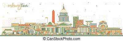 建筑物。, 華盛頓, 顏色, 美國, dc, 地平線, 城市
