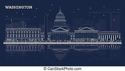 建筑物, outline, 華盛頓特區, 地平線, reflections., 白色