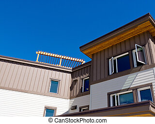 建築物, 上面, 穿著, 樓, 外部, 公寓租房, 木材
