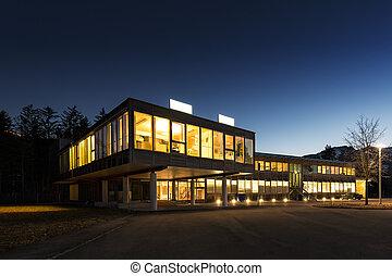 建築物, 保留, 辦公室, 木制, 能量, 生態, 夜晚
