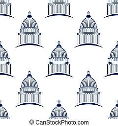 建築物, 圖表, 州議會大廈, 圖案, seamless, 插圖, 背景。, 矢量, 設計