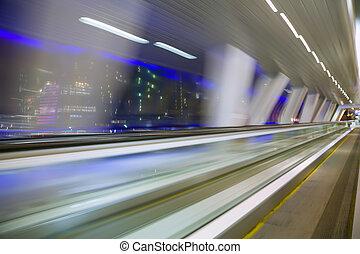 建築物, 城市, 使變模糊, 摘要, 現代, 長, 窗口, 走廊, 夜晚, 看法