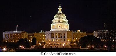 建築物, 夜晚, 華盛頓 國會大廈, dc