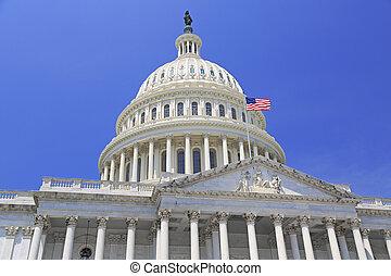 建築物, 州議會大廈, 國家, 華盛頓特區, 美國旗