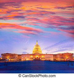 建築物, 州議會大廈, 國會, 華盛頓特區, 我們, 傍晚