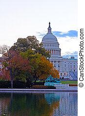 建築物, 州議會大廈, 我們, 秋天, 顏色, 黎明