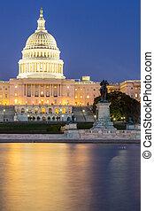 建築物, 州議會大廈, 我們, 黃昏