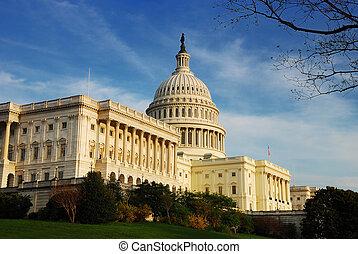 建築物, 州議會大廈, 細節, 華盛頓特區, 小山