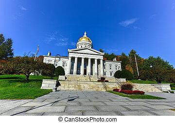 建築物, 州議會大廈, 美國, 佛蒙特, montpelier, 狀態