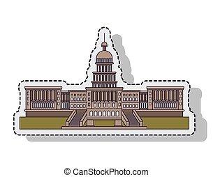 建築物, 州議會大廈, 美國, 被隔离, 插圖, 矢量, 設計
