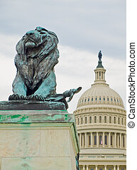 建築物, 州議會大廈, 華盛頓特區, 我們, 獅子, 雕像, 前面